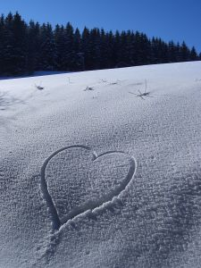 Heart in the cold snow